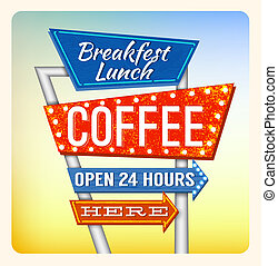 Retro Neon Sign Breakfest Coffee - Retro Neon Sign Coffee...