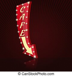 Retro neon sign for cafe. Glowing cafe sign