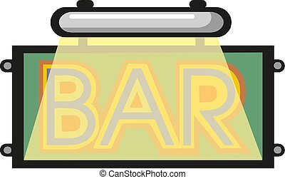 Retro neon sign with the word bar. Vintage electric symbol. Vector illustration