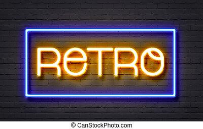 retro, neon signera, på, tegelsten vägg, bakgrund.