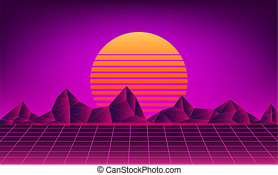 retro neon sun background