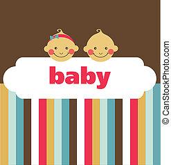 retro, neugeborenes baby, karte, mit, junge, und, a,...