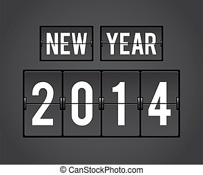 Retro New Year 2014 split-flap