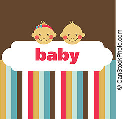 retro newborn baby card with boy and a girl , vector...