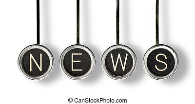 Retro News - Four old, scratched chrome typewriter keys with...