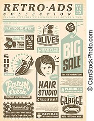 Retro newspaper ads page with promo advertisements. Vintage ...