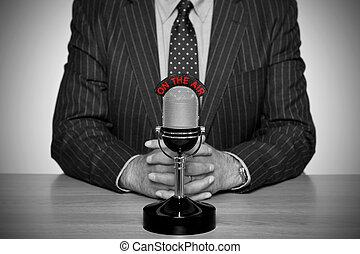 retro, nieuws uitzending, en, microphone.