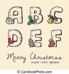 retro, noël, alphabet