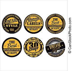 retro, noir, 2, ensemble, collection, prime, jaune, insignes, qualité
