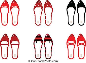 &, retro, noir, (, isolé, ensemble, chaussures, rouges, ), blanc