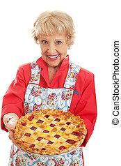 retro, nonna, con, casalingo, torta