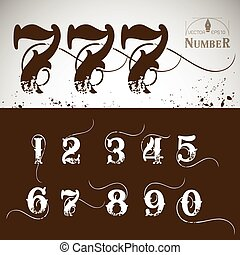 Retro Numbers 0-9 on brown and white background