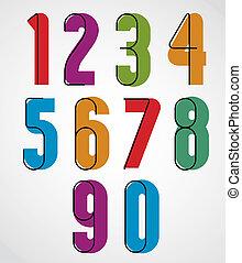 Retro numbers, bold condensed numerals set.