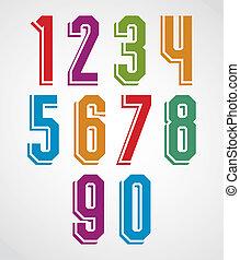 Retro numbers set, geometric numerals typeface.