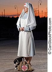 Retro nurse - Retro styled nurse with cat and first aid kit...