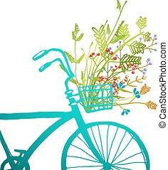 retro, nyár, bicikli, noha, menstruáció