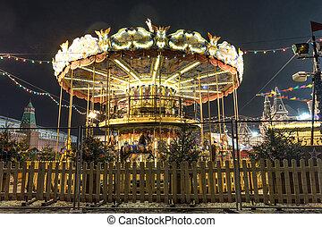 retro, oświetlany, carousel, noc
