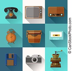 Retro object icons - Illustration of retro object flat icons