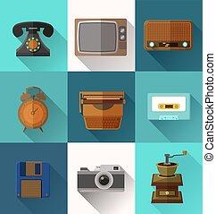 Retro object icons - Illustration of retro object flat icons