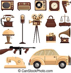 Retro Objects Set - Retro objects set with a car a ...