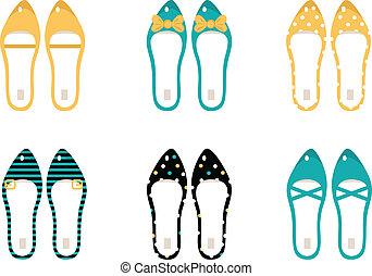 retro, obuwie, zbiór, odizolowany, na białym, (, żółty, &, błękitny, )