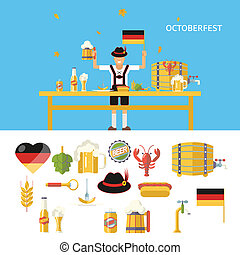Retro Octoberfest Symbols Beer Alcohol Accessories Icons Set Trendy Modern Flat Design Template Vector Illustration