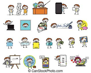 Retro Office Guy - Collection of Concepts Vector illustrations