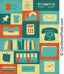 Retro style poster with different office items.