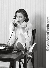 Retro office worker with surprised expression - Woman...
