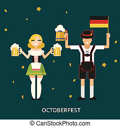 Retro Oktoberfest Male and Female Characters in Traditional Costumes with Accessories Trendy Modern Flat Design Template Vector Illustration Concept
