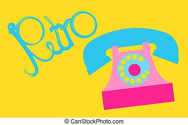 Retro, old, antique, hipster, vintage, ancient, disk, pink phone with a tube with a retro inscription written in beautiful blue letters on a yellow background. Vector illustration.