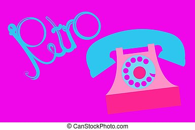 Retro, old, antique, hipster, vintage, ancient, disk, pink phone with a tube with a retro inscription written in beautiful blue letters on a purple background. Vector illustration.