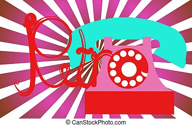 Retro, old, antique, hipster, vintage, ancient, disk, pink phone with a tube with a retro inscription written in beautiful red letters against a background of purple rays. Vector illustration.