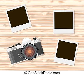 Retro old camera and instant photo frames
