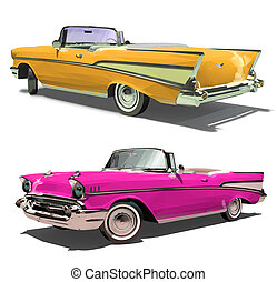 Retro old car with an open top. Convertible. Isolated on a white background. Render. 3d.