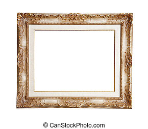 Retro old gold frame, isolated