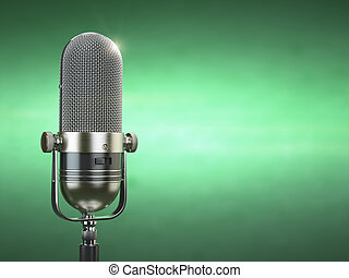 Retro old microphone. Radio show or audio podcast concept. Vintage microphone on green background.
