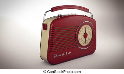 """3d rendering of Retro old radio receiver on white background."""
