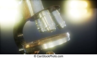 Retro old scientific laboratory microscope
