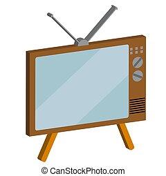 Retro, old, vintage, hipster, 3d, volumetric kinescope TV on a white background. Vector illustration