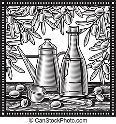 Retro olive oil still life in woodcut style. Black and white vector illustration with clipping mask.