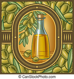 Retro olive oil still life in woodcut style. Vector...