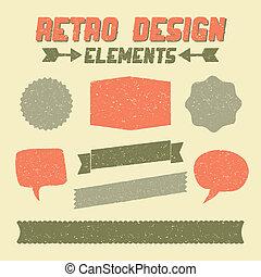 retro, ontwerp onderdelen, verzameling