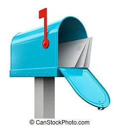 retro, open, blauwe , brievenbus, vrijstaand, op wit,...
