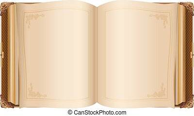 Retro open book with blank pages