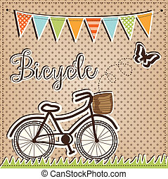 retro or vintage bicycle with butterfly