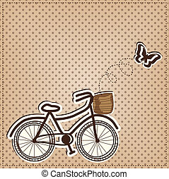 retro or vintage bicycle with butterfly on a polka dot background, vector format