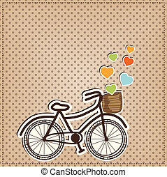 Retro or vintage bicycle with hearts