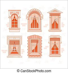 Retro or vintage window frames with curtain