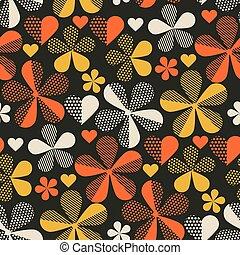 Retro orange and yellow color 60s flower motif. Geometric ...